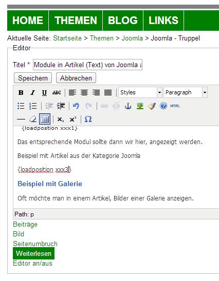 Joomla Module in Artikel einfügen