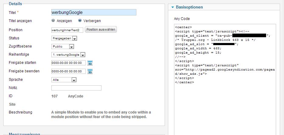 Banner kann man auch mit AnyCode einbinden.