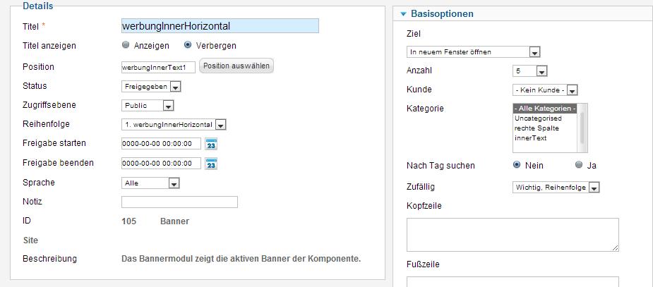 Ein Widget von Joomla zeigt die Banner der Bannerkomponente an.