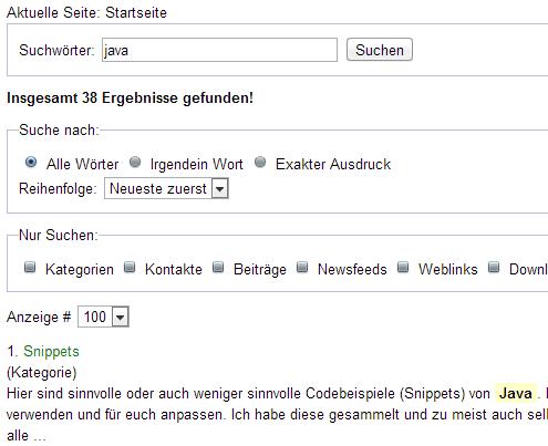Die Komponente Suche von Joomla
