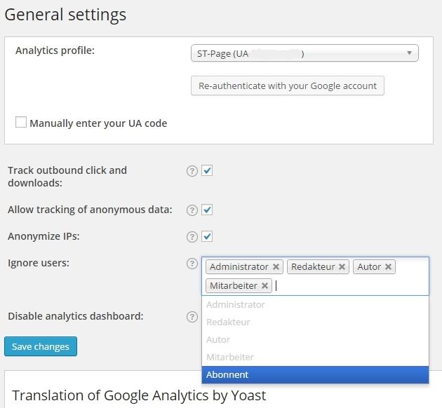 Einstellungen im Plugin von Yoast für Google Analytics