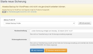Wordpress Backup starten