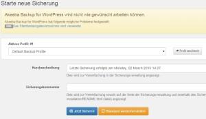 Wordpress Backup starten