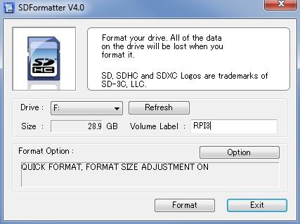 Programm SDFormatter V4.0
