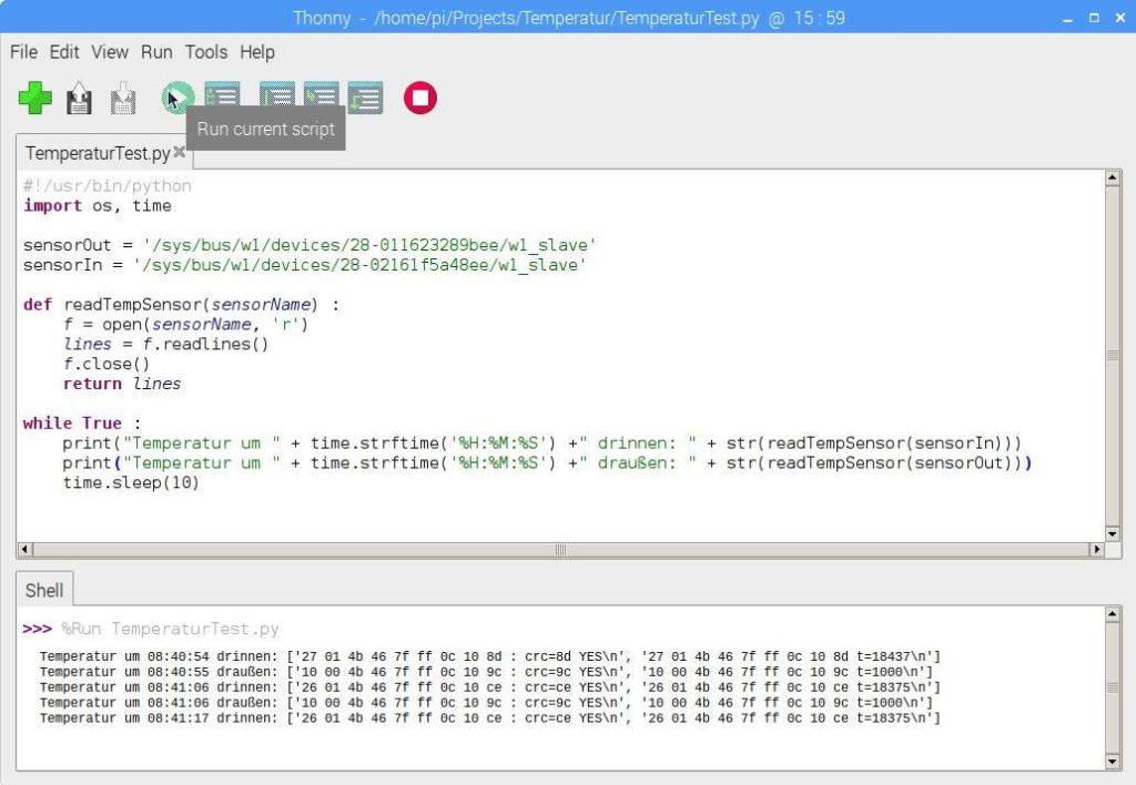Auslesen der Daten des DS18B20 mit Python