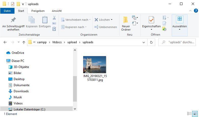 Hochgeladene Datei im Upload-Verzeichnis